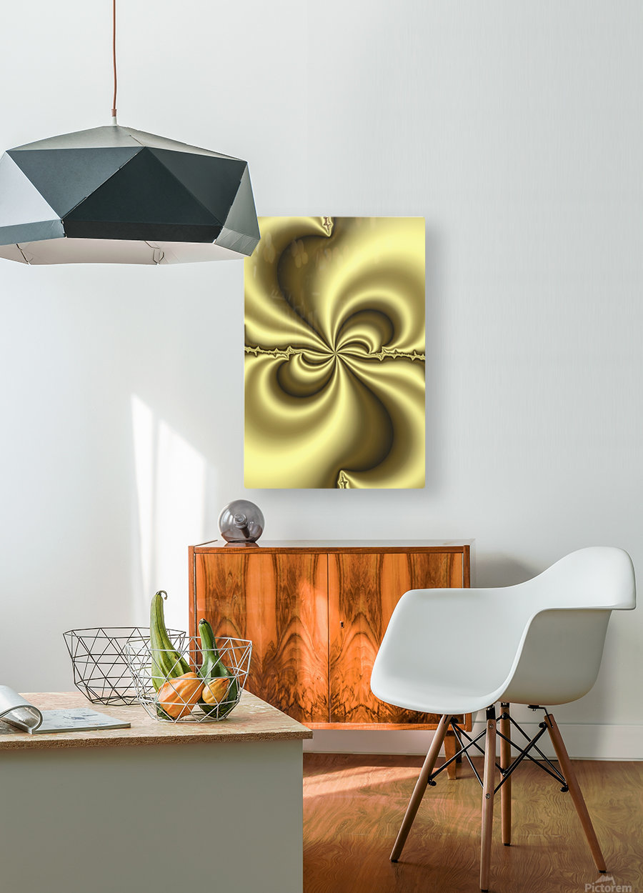 Gold Abstract  HD Metal print with Floating Frame on Back