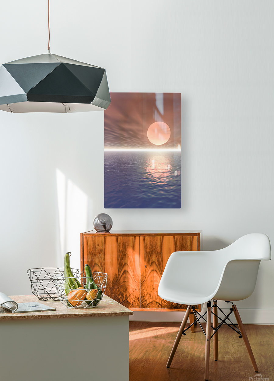 Illustrated Sun Over A Seascape  HD Metal print with Floating Frame on Back