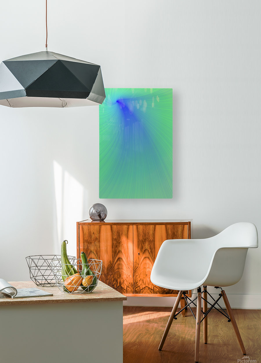 Blue And Green Abstract  HD Metal print with Floating Frame on Back
