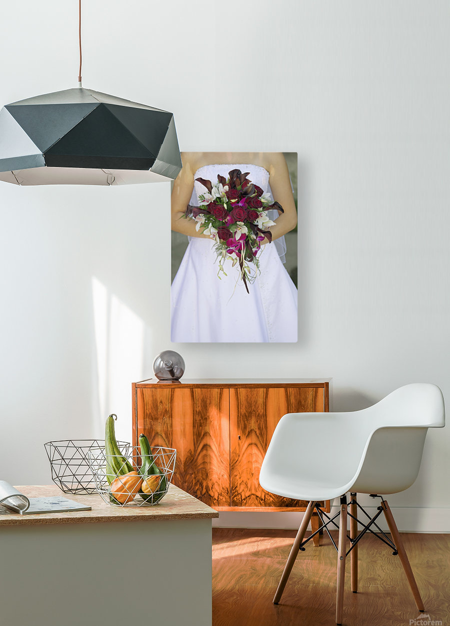 Bride's Bouquet And Wedding Dress  HD Metal print with Floating Frame on Back