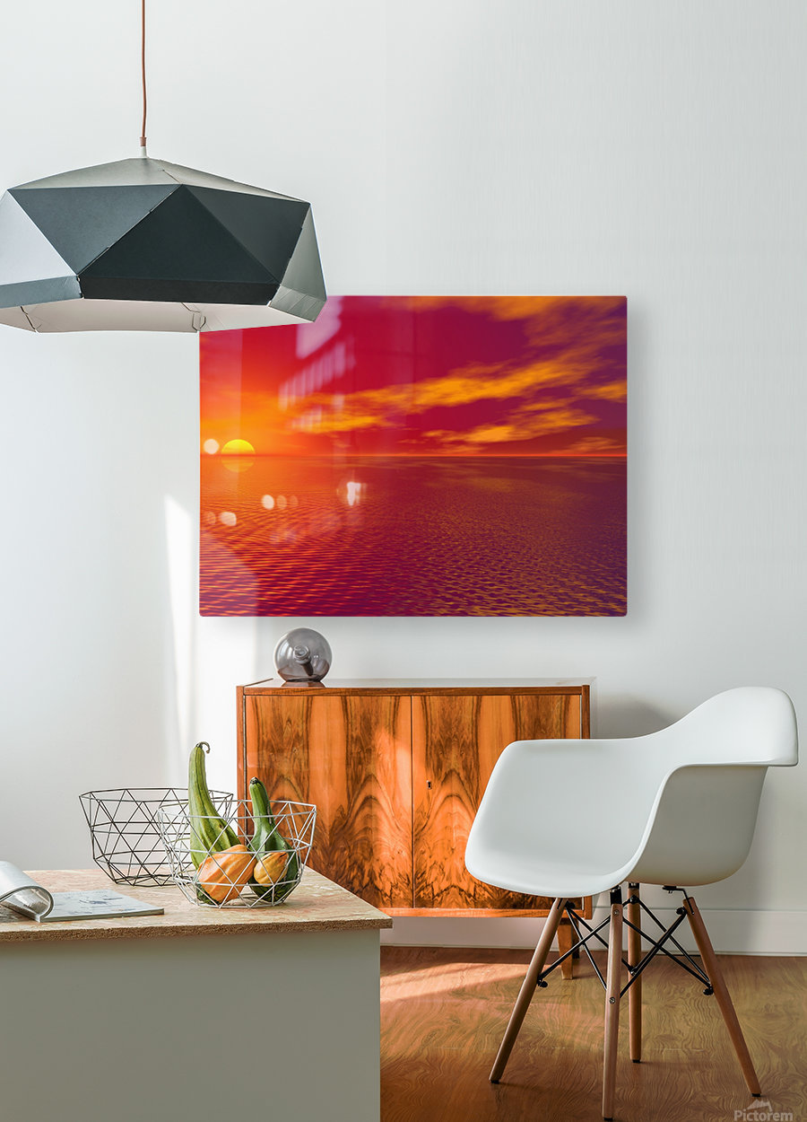 Sunset Over The Water  HD Metal print with Floating Frame on Back