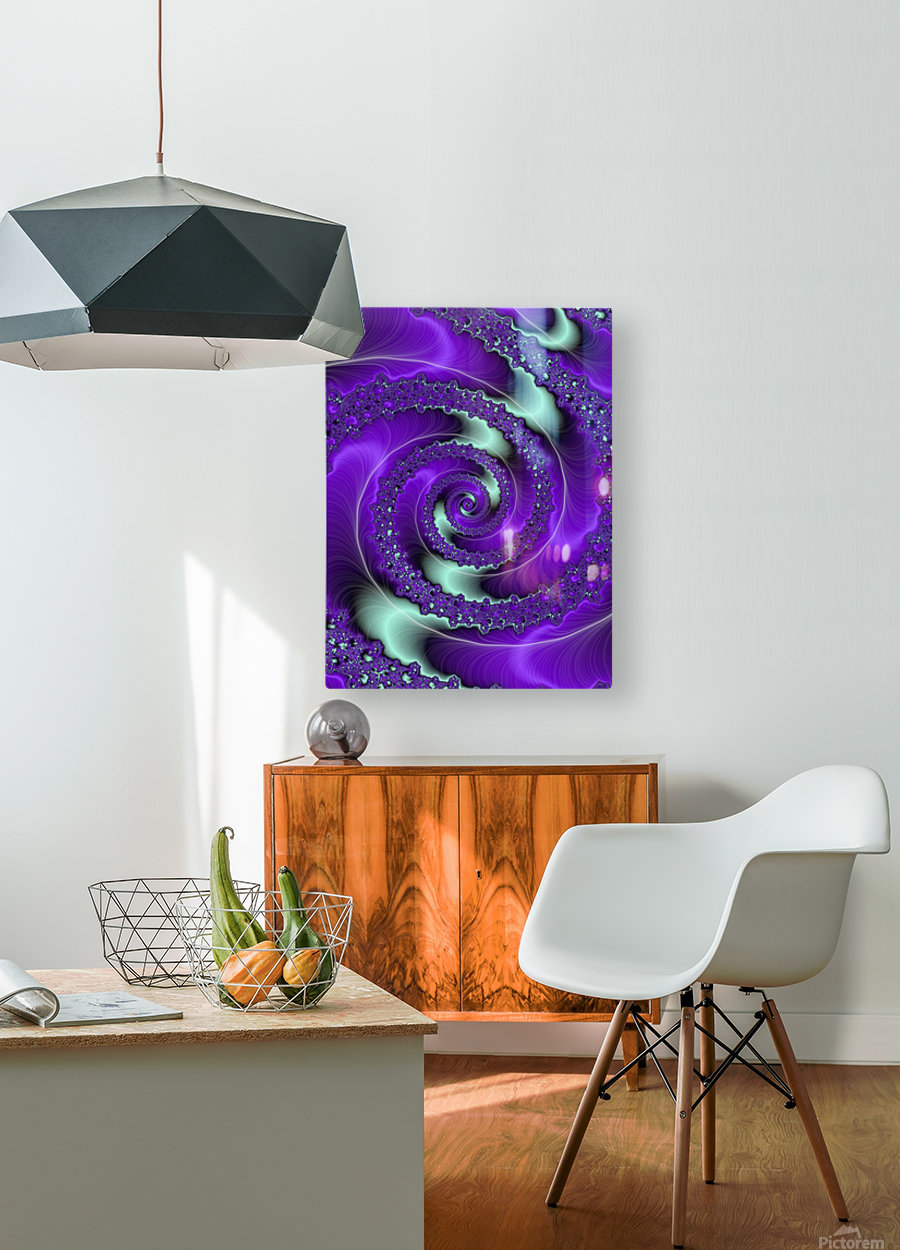 Purple Vortex  HD Metal print with Floating Frame on Back