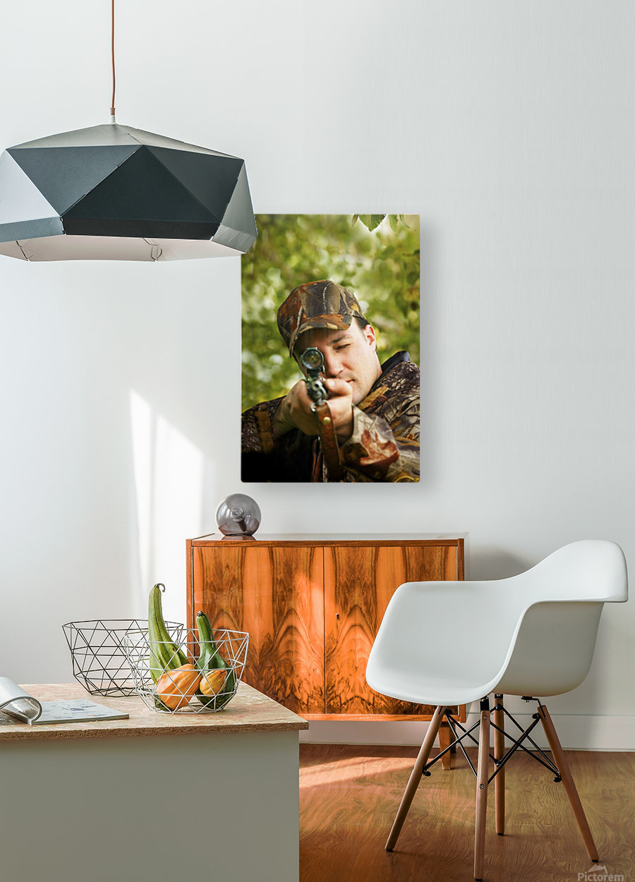 Man Hunting  HD Metal print with Floating Frame on Back