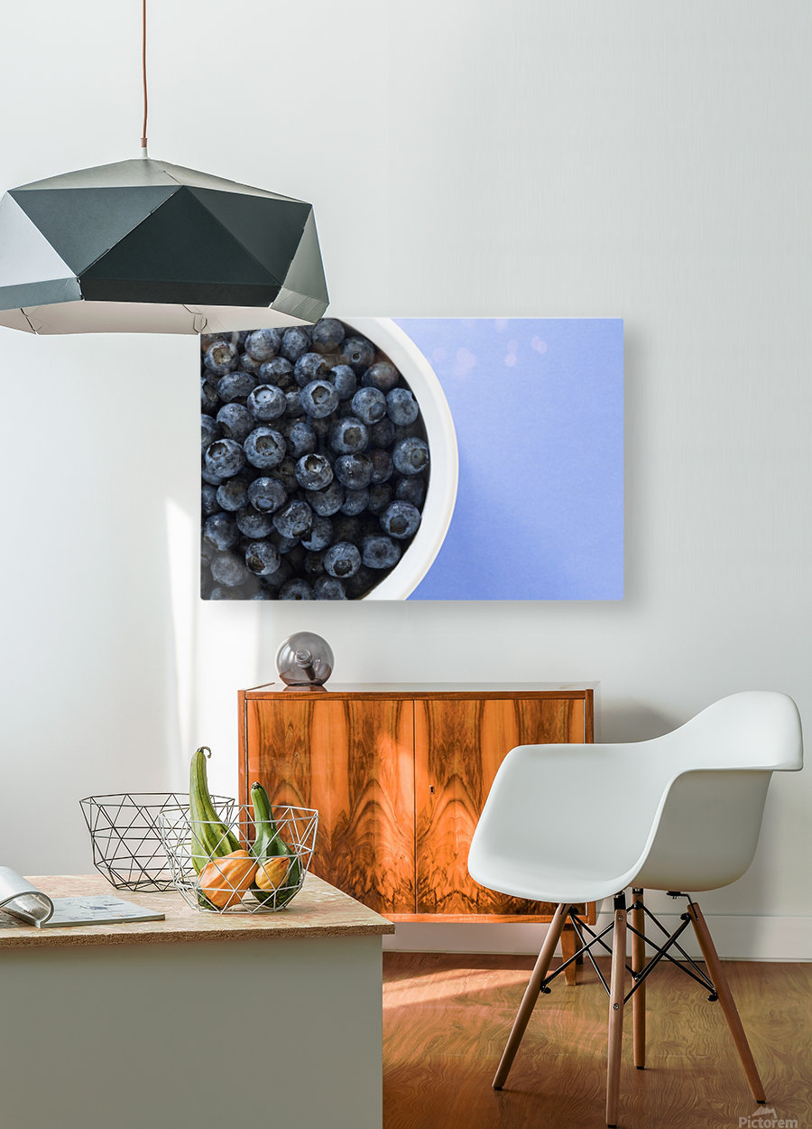 Bowl Of Blueberries  HD Metal print with Floating Frame on Back