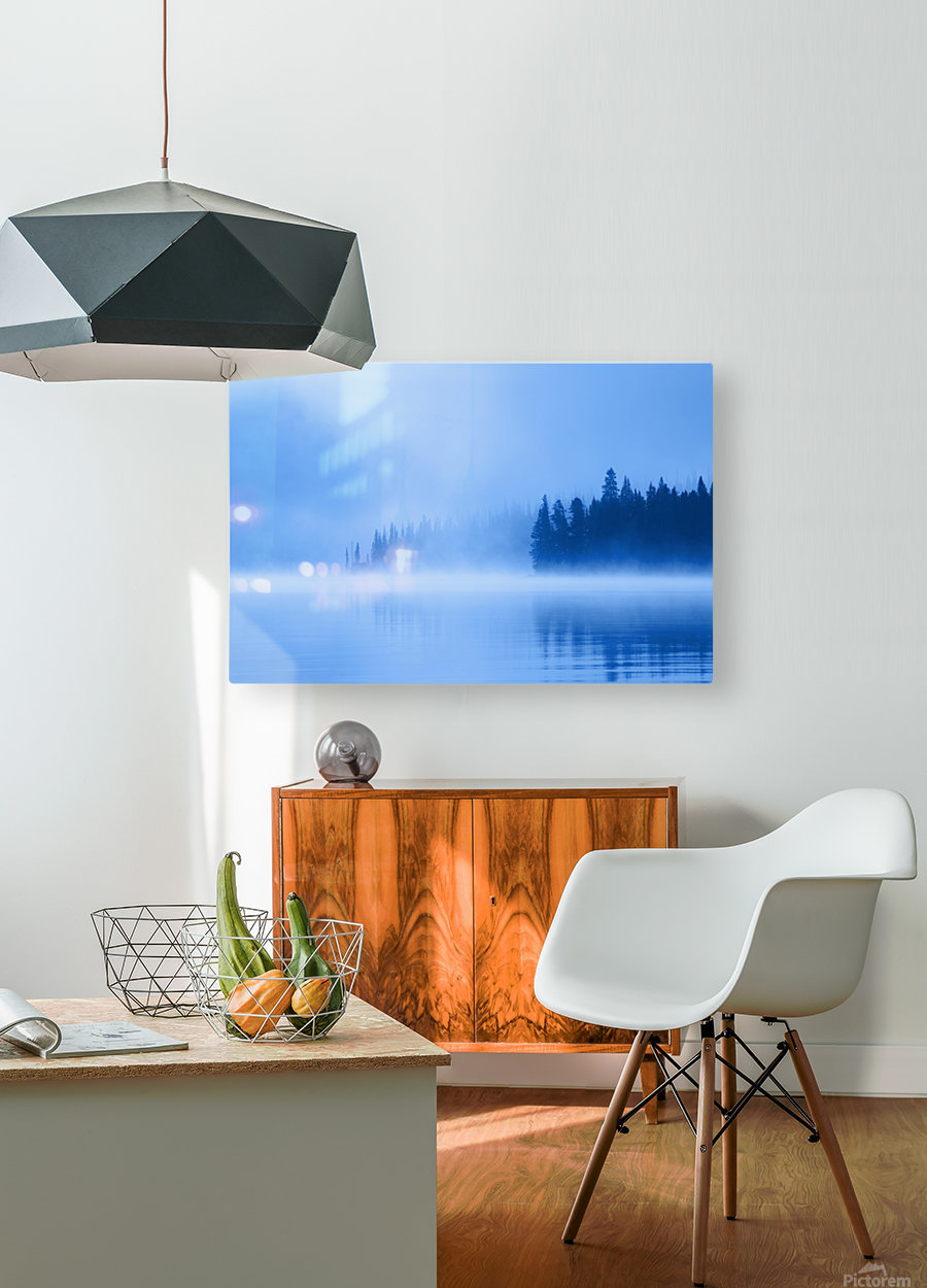 Foggy Lake  HD Metal print with Floating Frame on Back