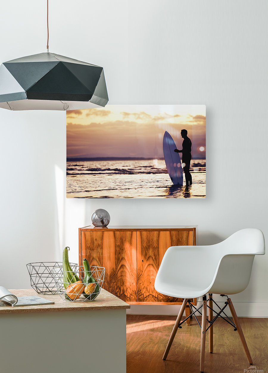 Surfer Silhouette  HD Metal print with Floating Frame on Back