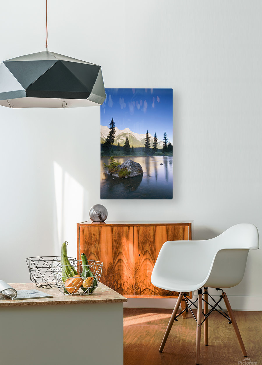 Sunrise And Early Morning Mist On Mountain River  HD Metal print with Floating Frame on Back
