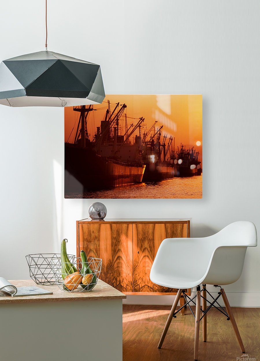 Shipping Freighters At Sunset  HD Metal print with Floating Frame on Back