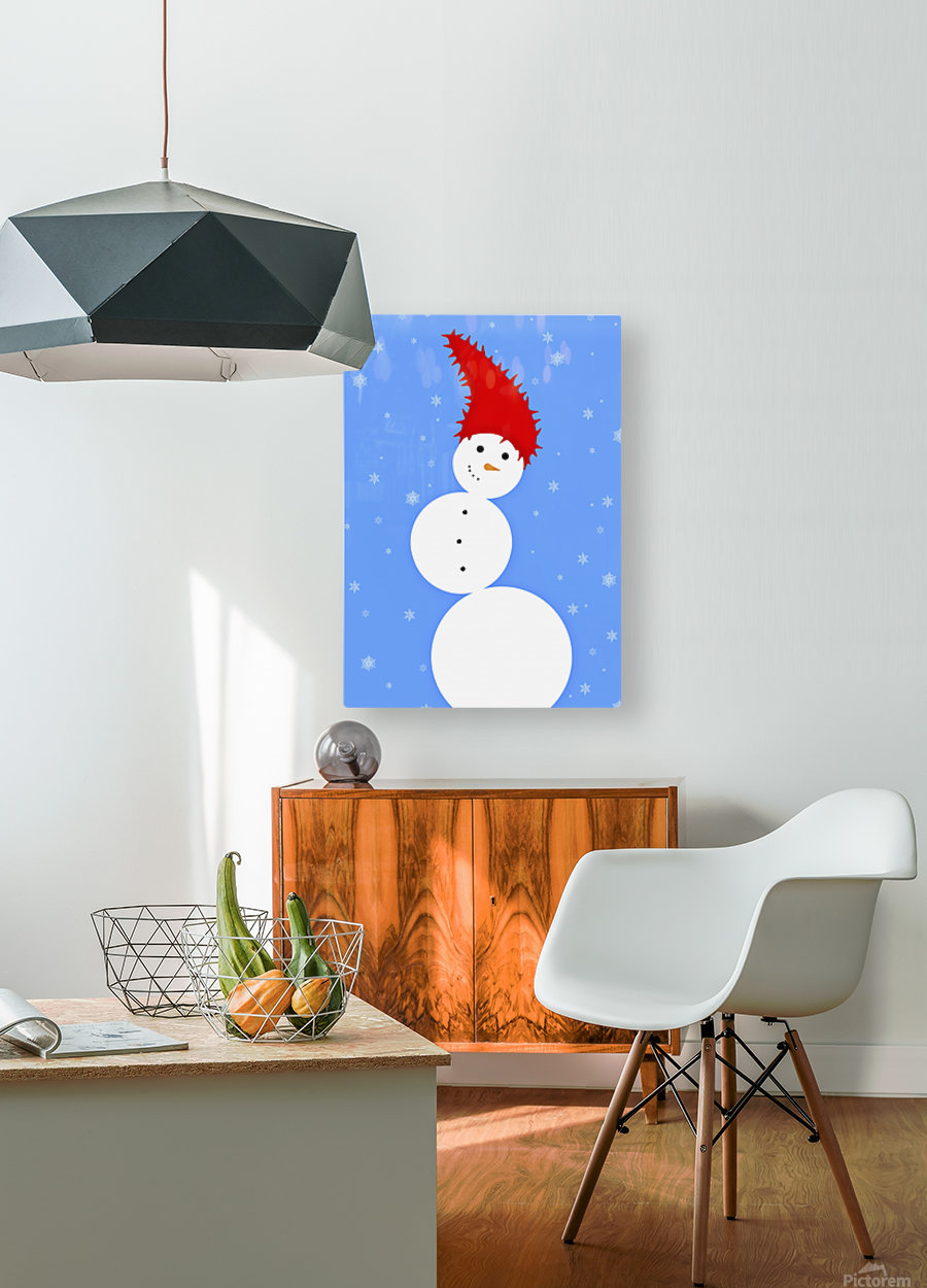 Illustration Of A Snowman  HD Metal print with Floating Frame on Back