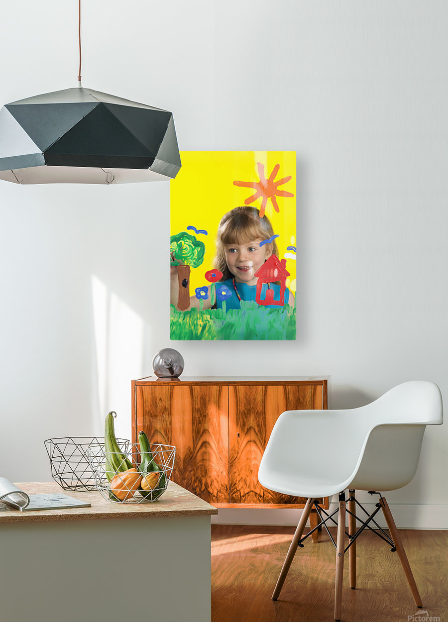 Girl Painting On Glass  HD Metal print with Floating Frame on Back
