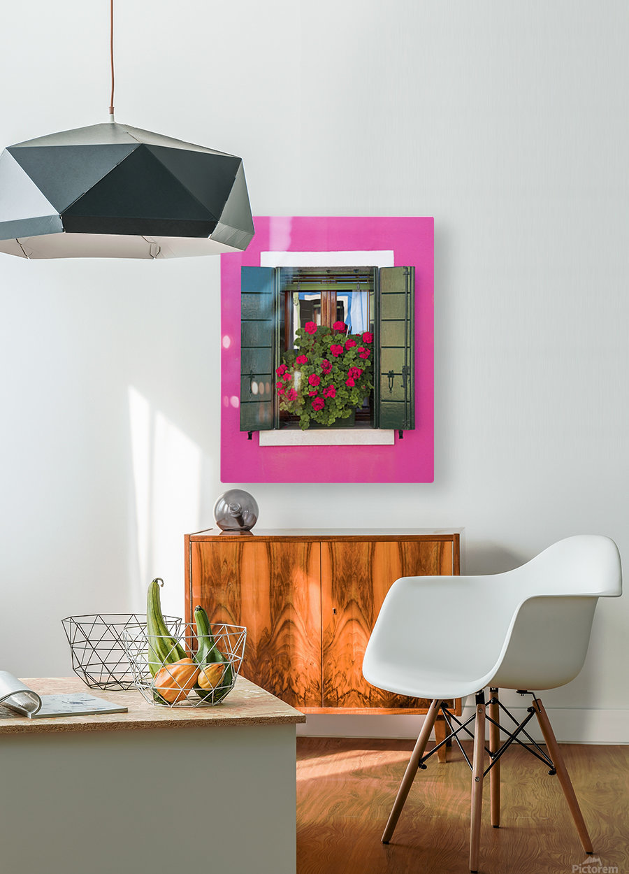 Pink Wall And Green Shutters, Burano, Italy  HD Metal print with Floating Frame on Back