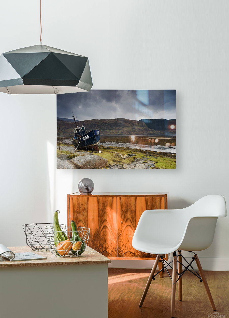 Boat Ashore, Loch Sunart, Scotland  HD Metal print with Floating Frame on Back