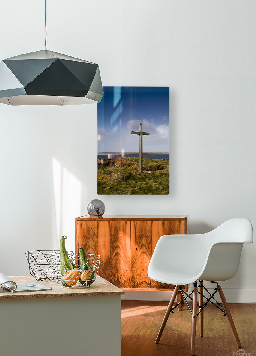 Grave Site Marked By A Cross On A Hill  HD Metal print with Floating Frame on Back