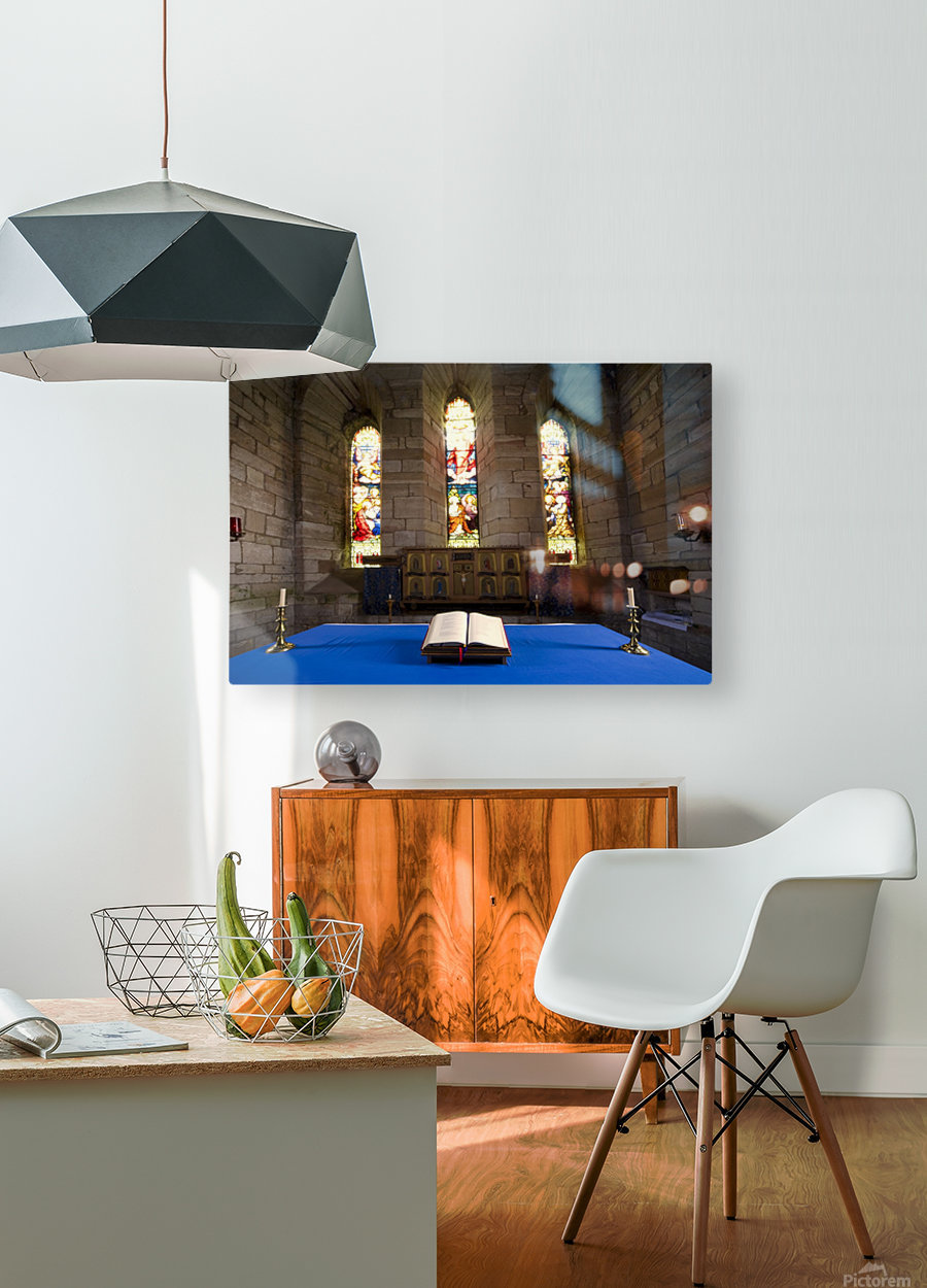 Church And Open Bible, Holy Island, Bewick, England  HD Metal print with Floating Frame on Back