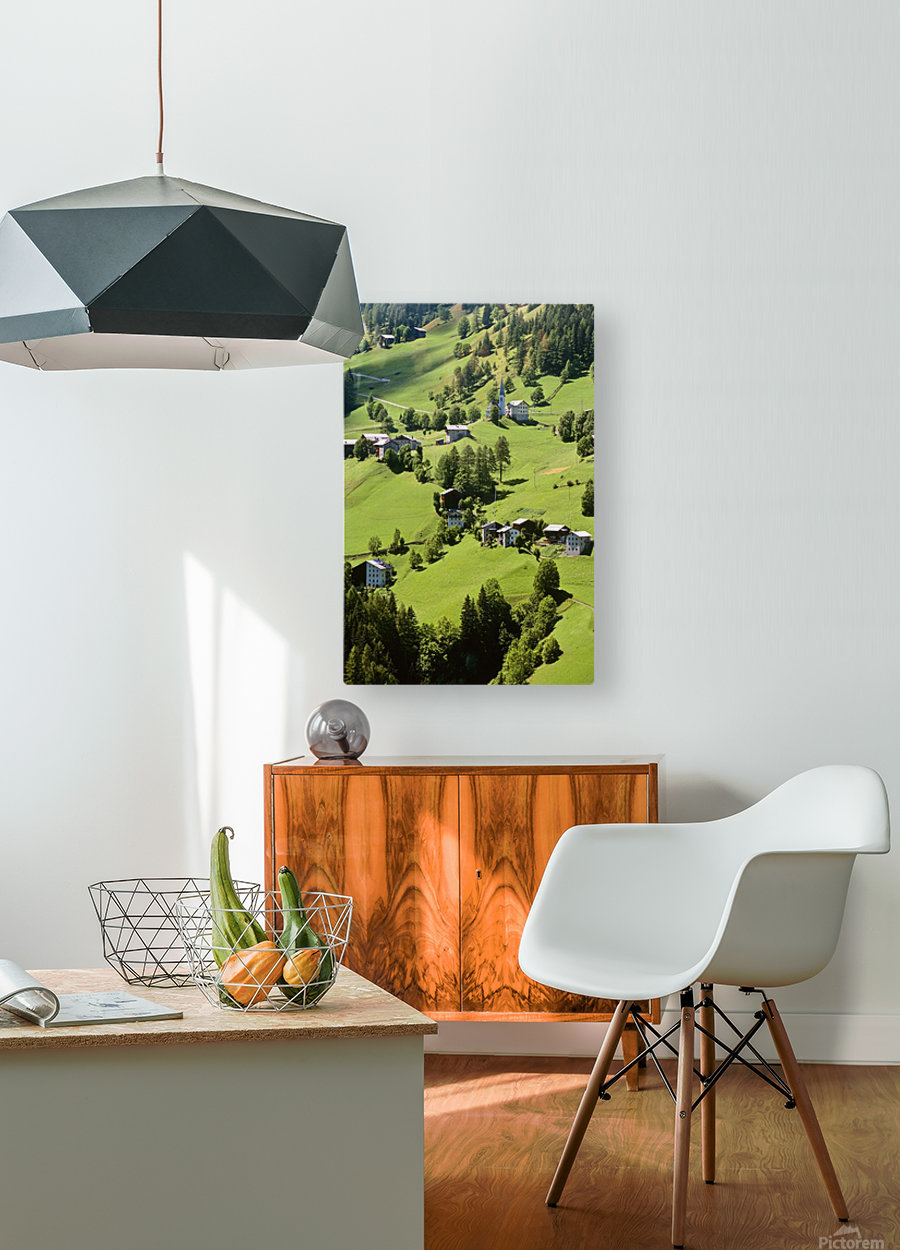 Mountain Village In Dolomites, Italy  HD Metal print with Floating Frame on Back