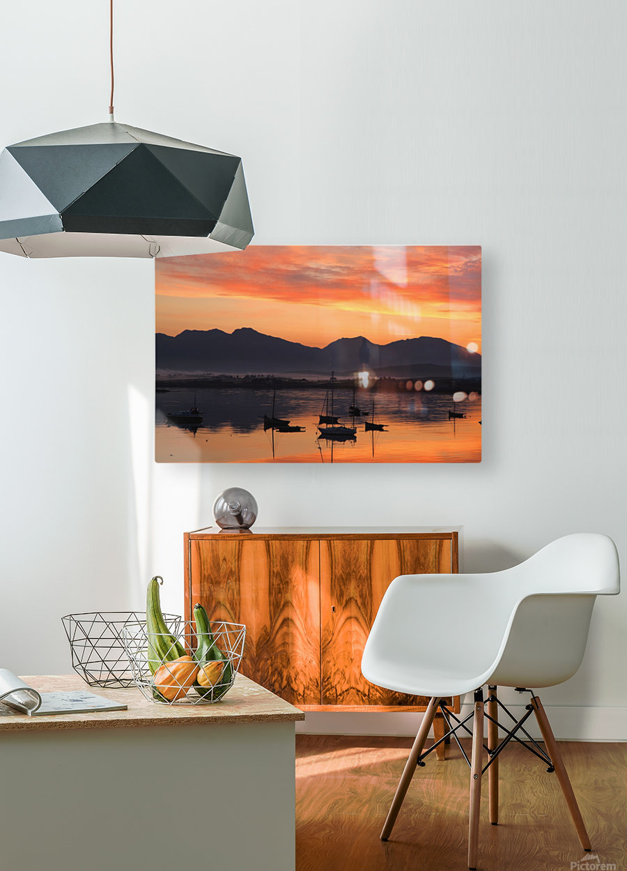 Sunrise At Roundstone Harbour With 12 Bens, Galway, Ireland  HD Metal print with Floating Frame on Back