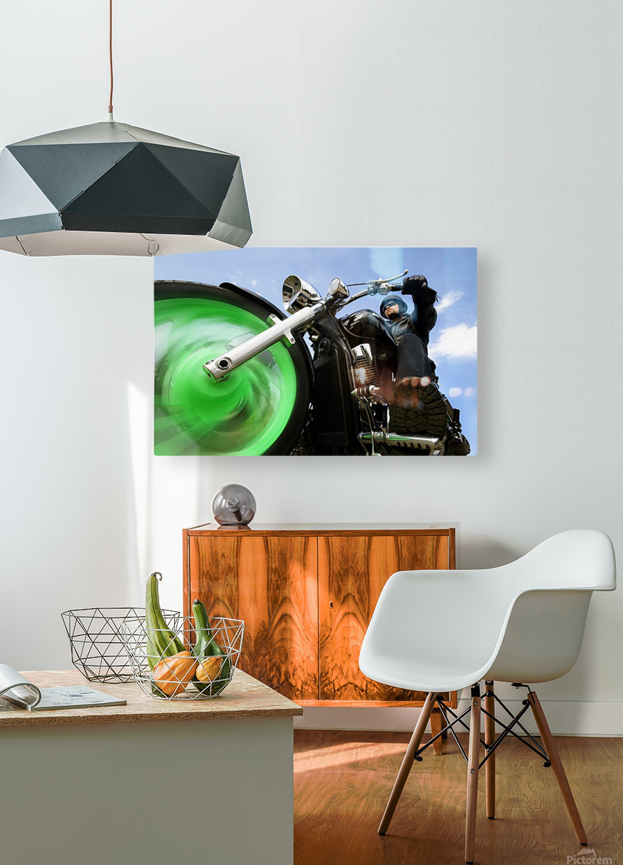 Man Riding A Motorbike  HD Metal print with Floating Frame on Back