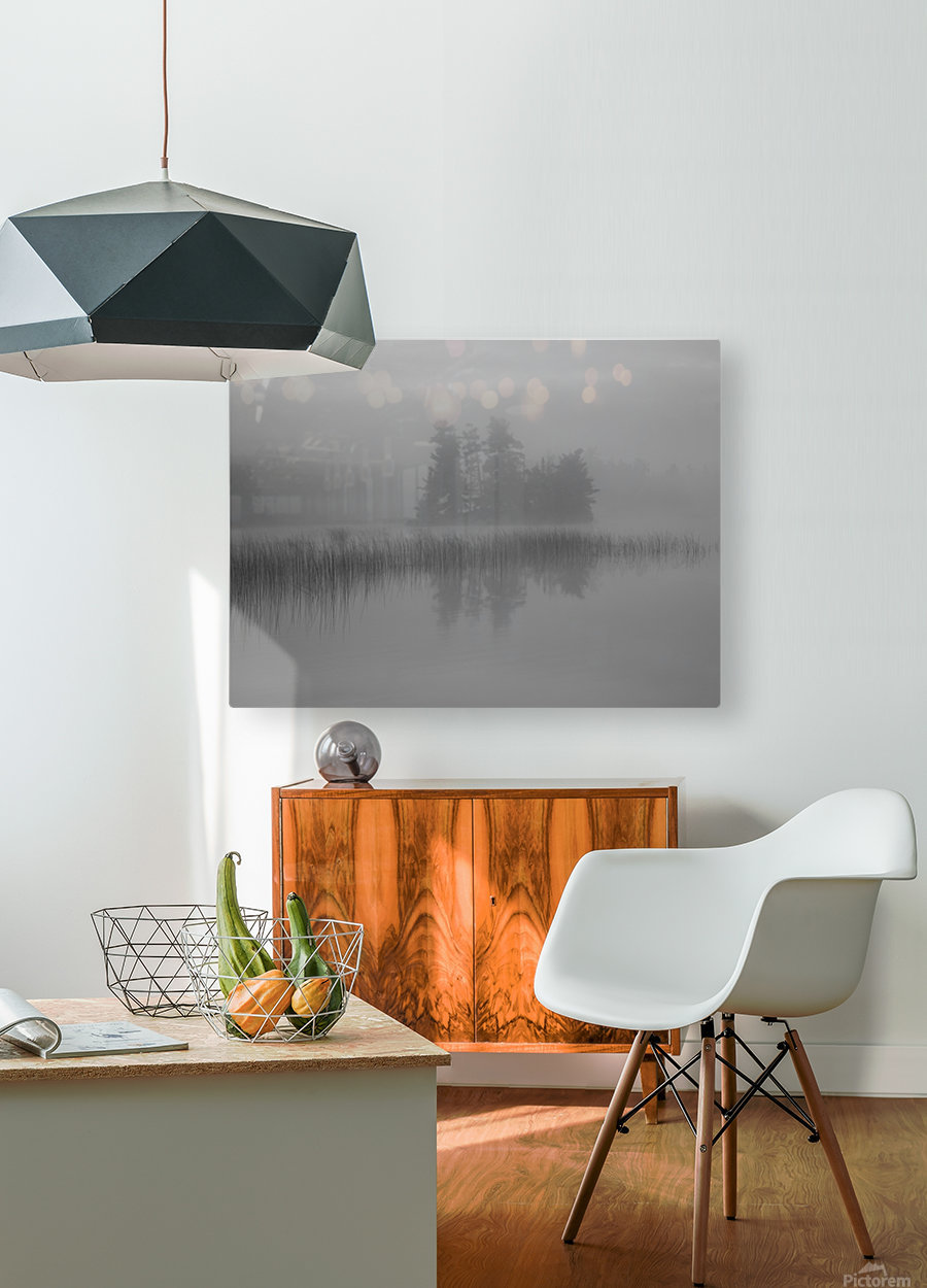 Lake Of The Woods, Ontario, Canada; Mist Rises Over Lake  HD Metal print with Floating Frame on Back