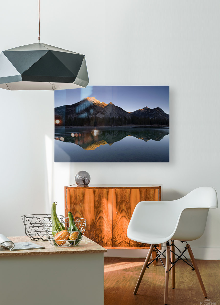 Mirror Image Of A Mountain In Water, Mount Lorette, Kananaskis, Alberta, Canada  HD Metal print with Floating Frame on Back