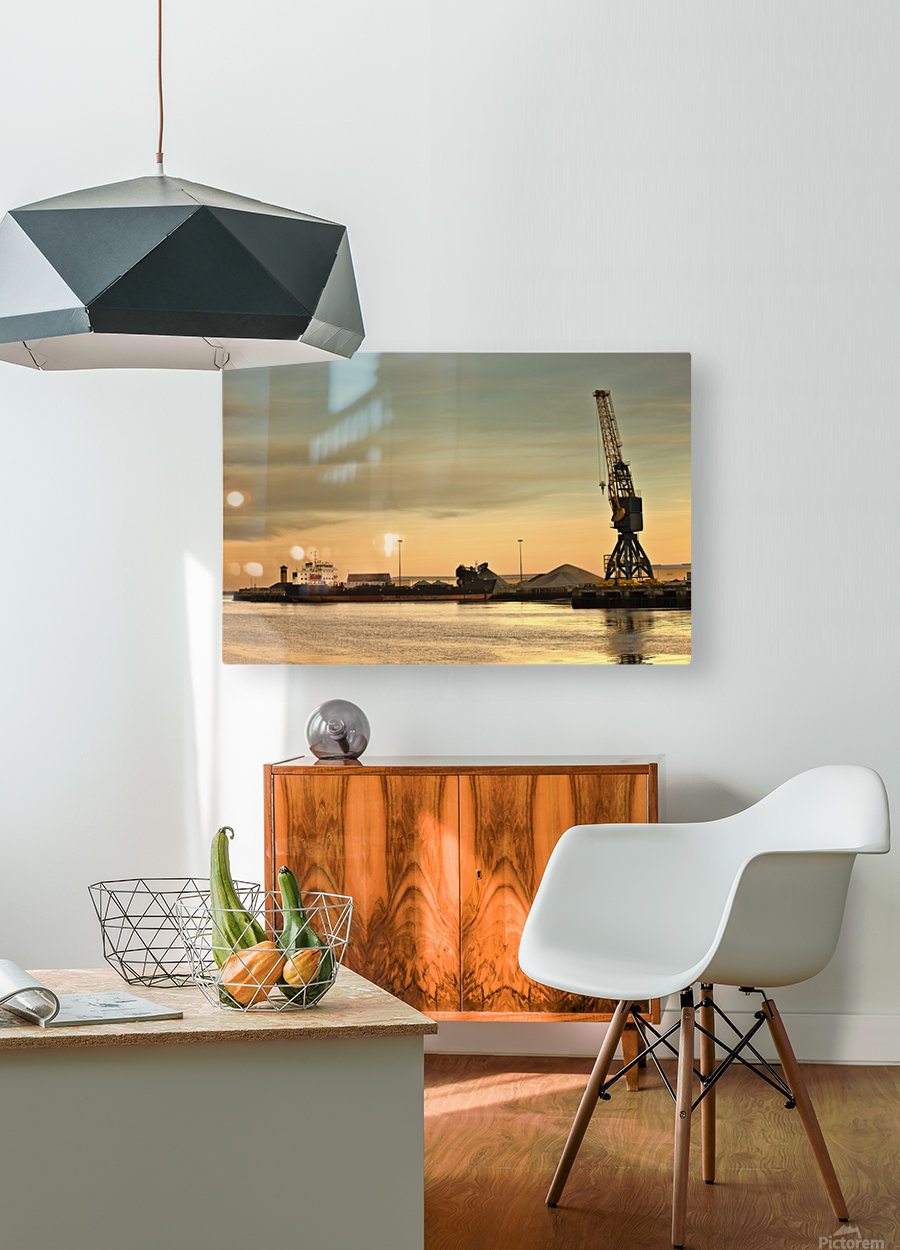 Tyne And Wear, Sunderland, England; Crane At A Shipping Dock  HD Metal print with Floating Frame on Back