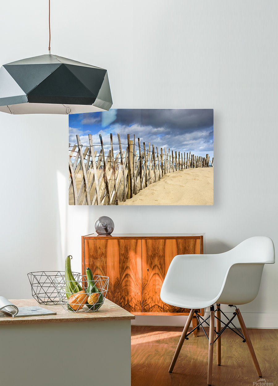 South Shields, Tyne And Wear, England; Dark Clouds Over Fence On A Beach  HD Metal print with Floating Frame on Back