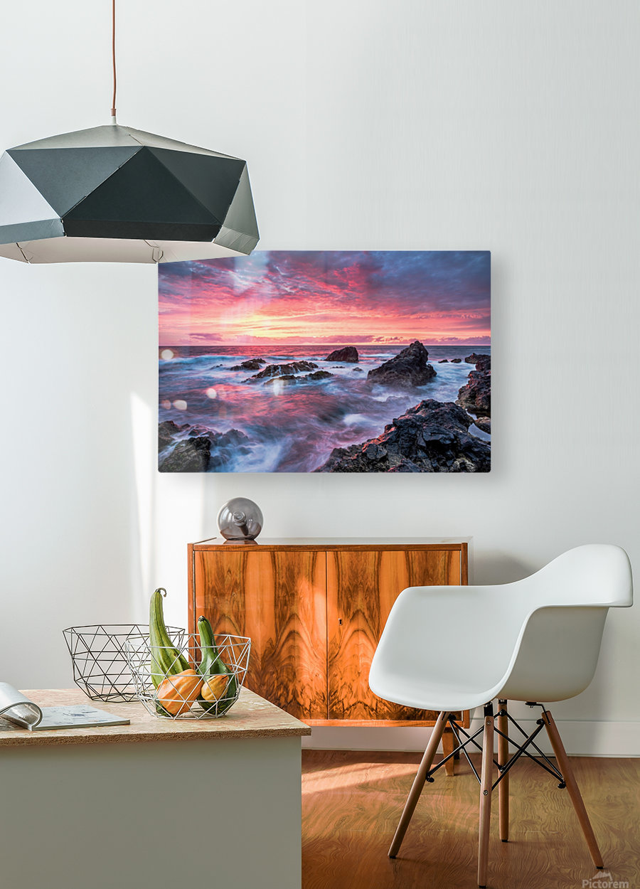 Colorful Sunset at Wild Coast on the Canary Islands  HD Metal print with Floating Frame on Back