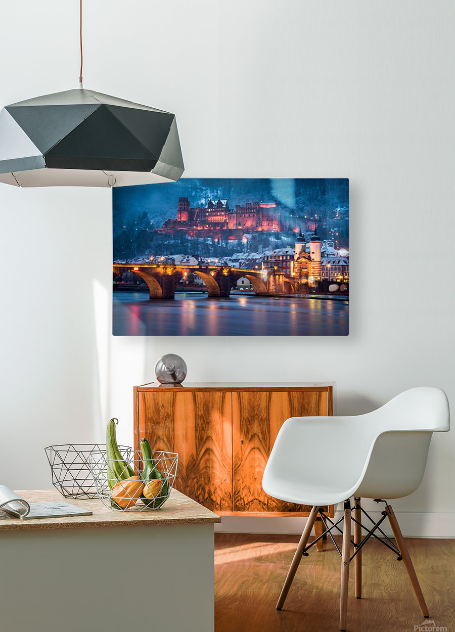 Heidelberg Castle and Old Brige in Winter  HD Metal print with Floating Frame on Back