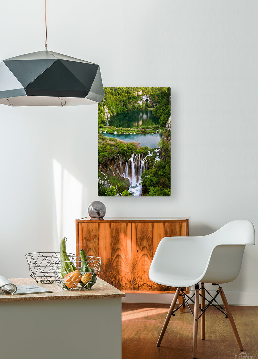 Waterfall Paradise Plitvice Lakes in Croatia  HD Metal print with Floating Frame on Back