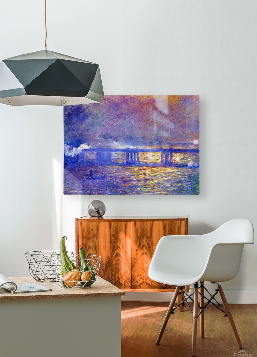 Charing cross bridge by Monet  HD Metal print with Floating Frame on Back