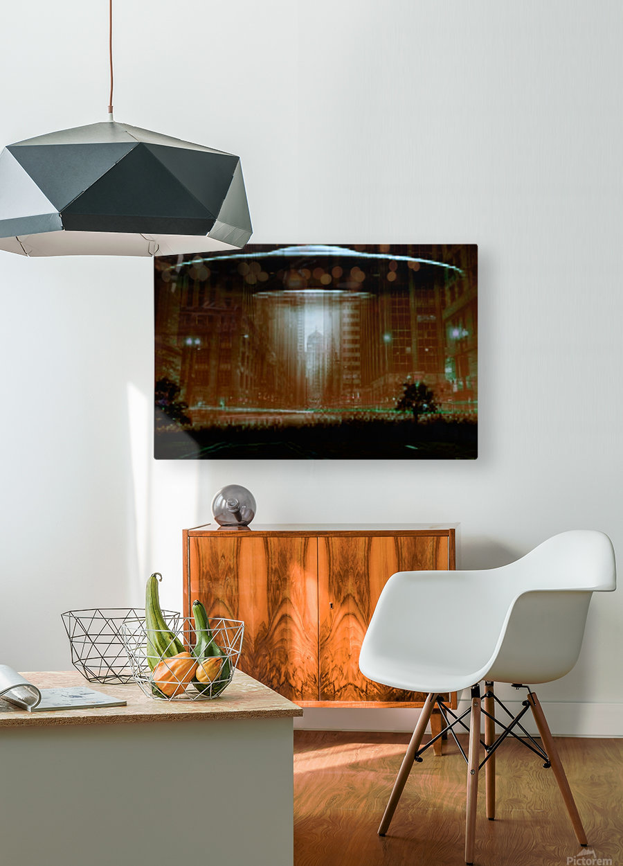 city invaded  HD Metal print with Floating Frame on Back