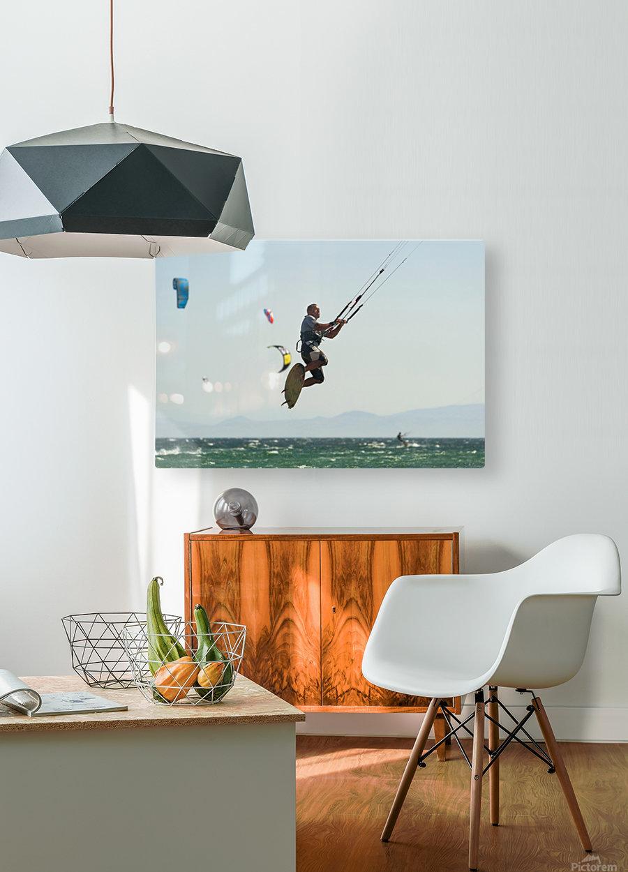 Kitesurfing; Tarifa, Cadiz, Andalusia, Spain  HD Metal print with Floating Frame on Back