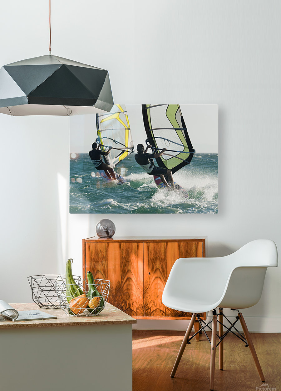 Windsurfing; Tarifa, Cadiz, Andalusia, Spain  HD Metal print with Floating Frame on Back