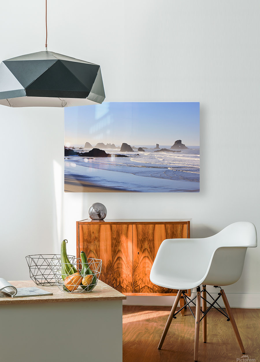 Tide At Indian Beach; Oregon, United States Of America  HD Metal print with Floating Frame on Back