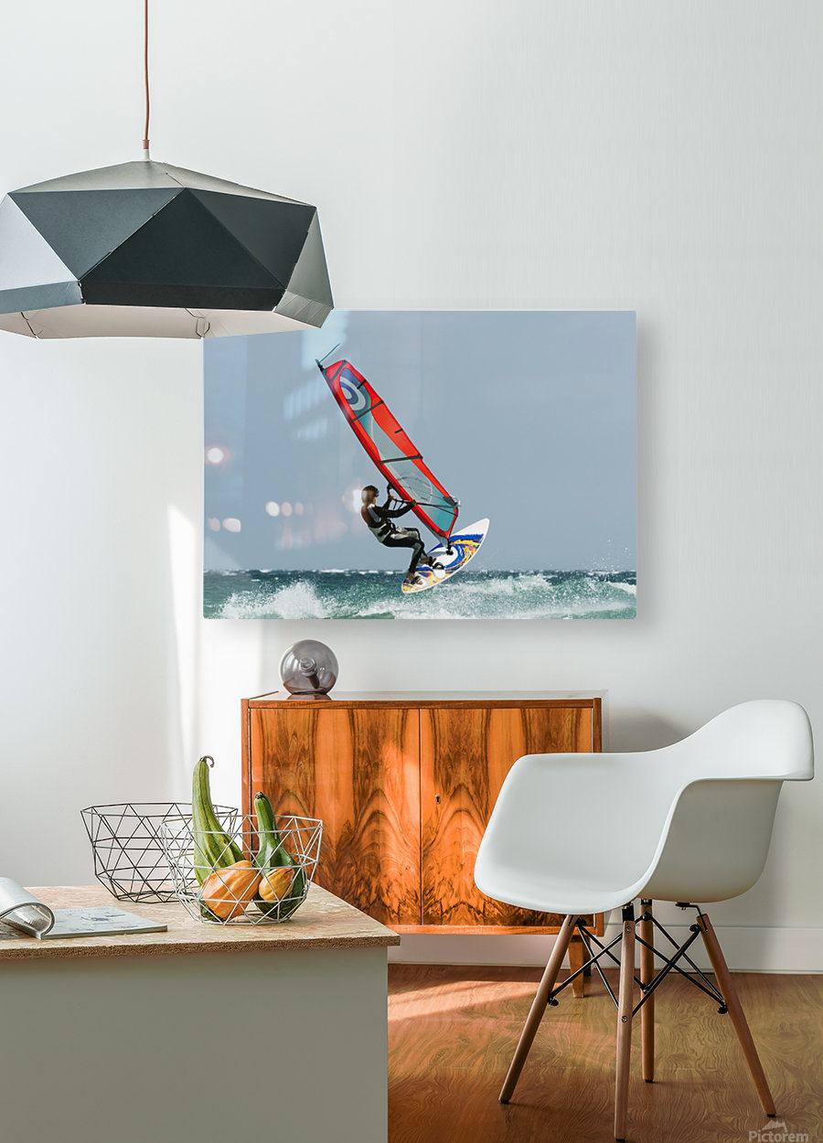 A Windsurfer In The Water; Tarifa, Cadiz, Andalusia, Spain  HD Metal print with Floating Frame on Back