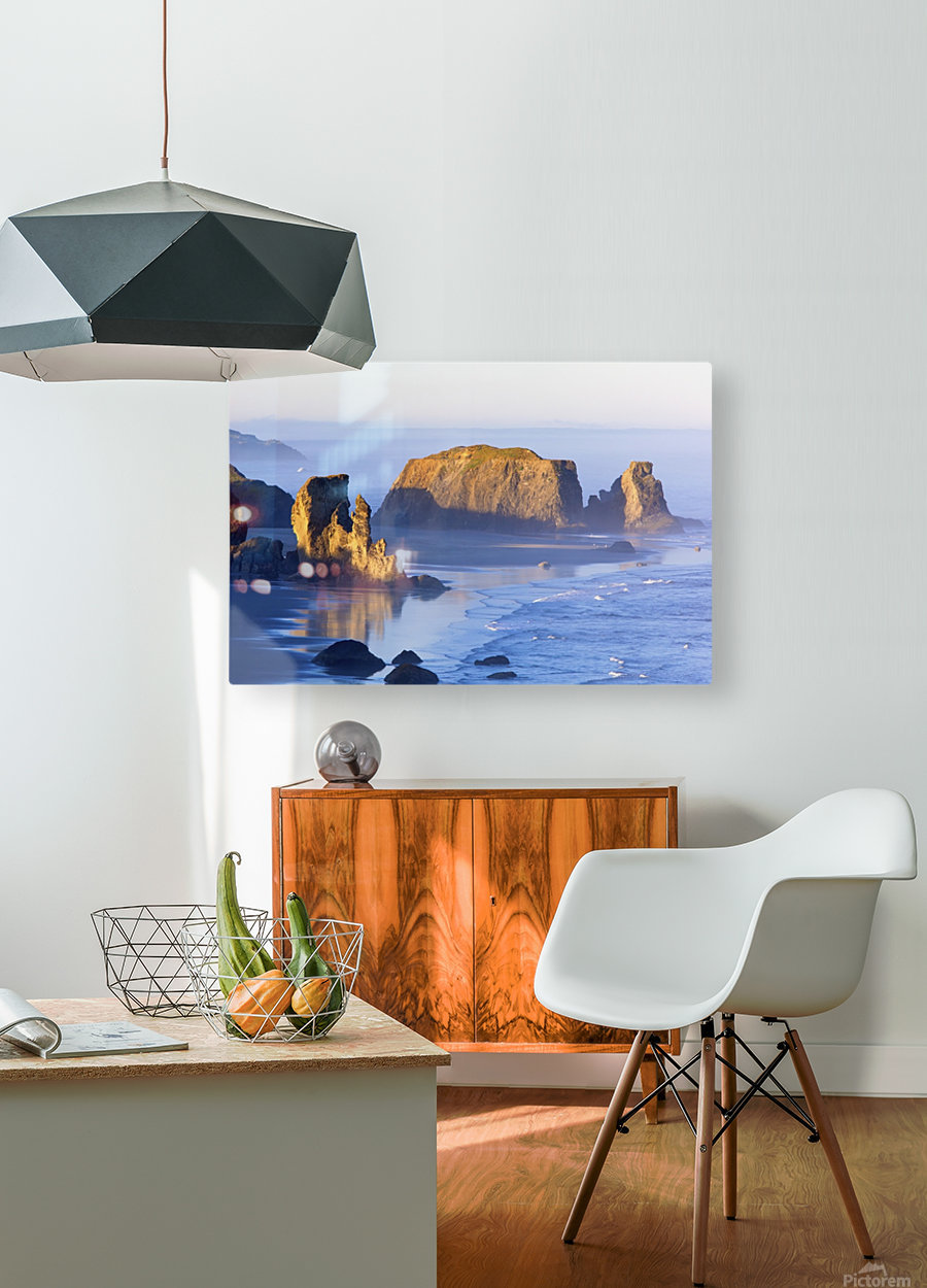 Morning Light Adds Beauty To Fog Covered Rock Formations At Bandon State Park; Bandon, Oregon, United States of America  HD Metal print with Floating Frame on Back