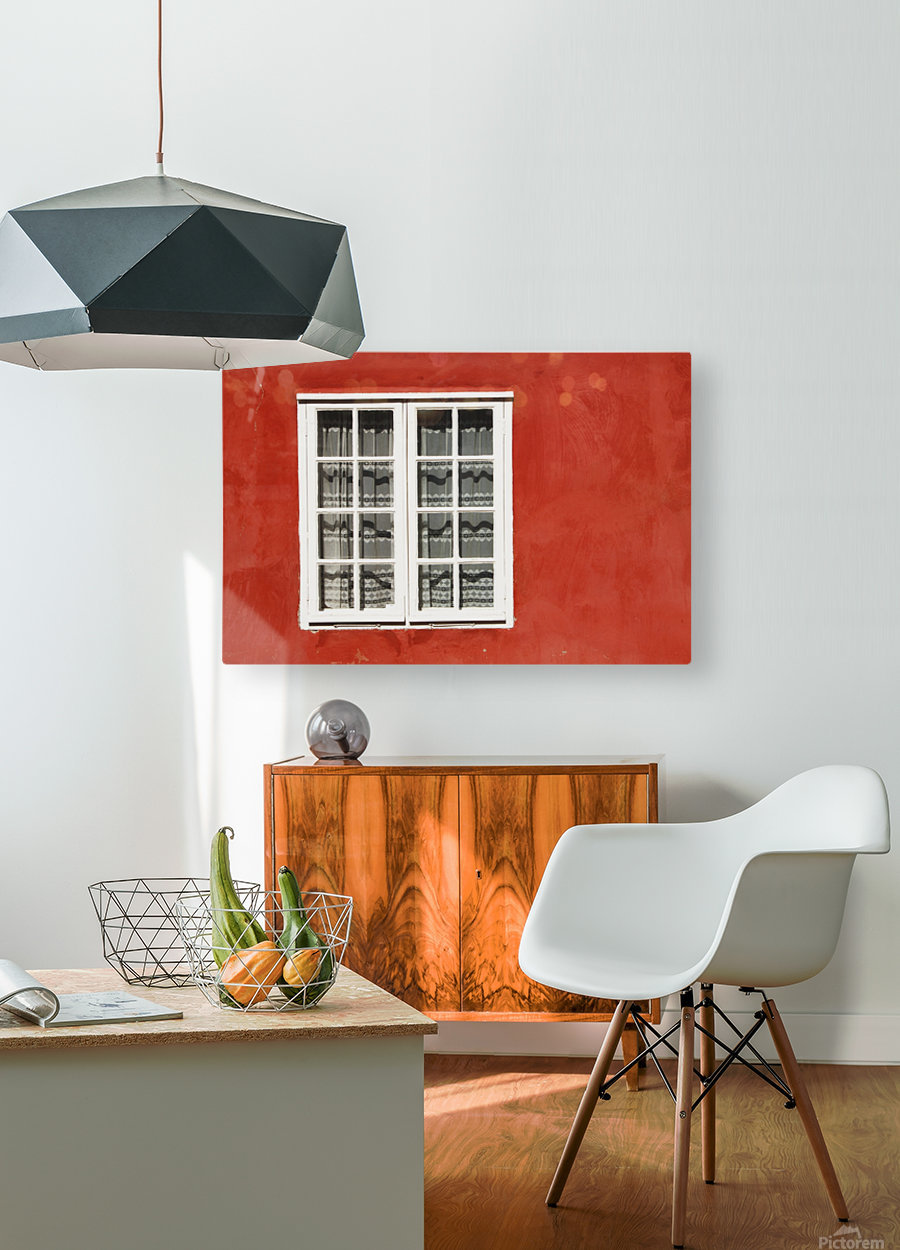 Red Timber House And Window Frame In The Old Town; Porvoo, Finland  HD Metal print with Floating Frame on Back