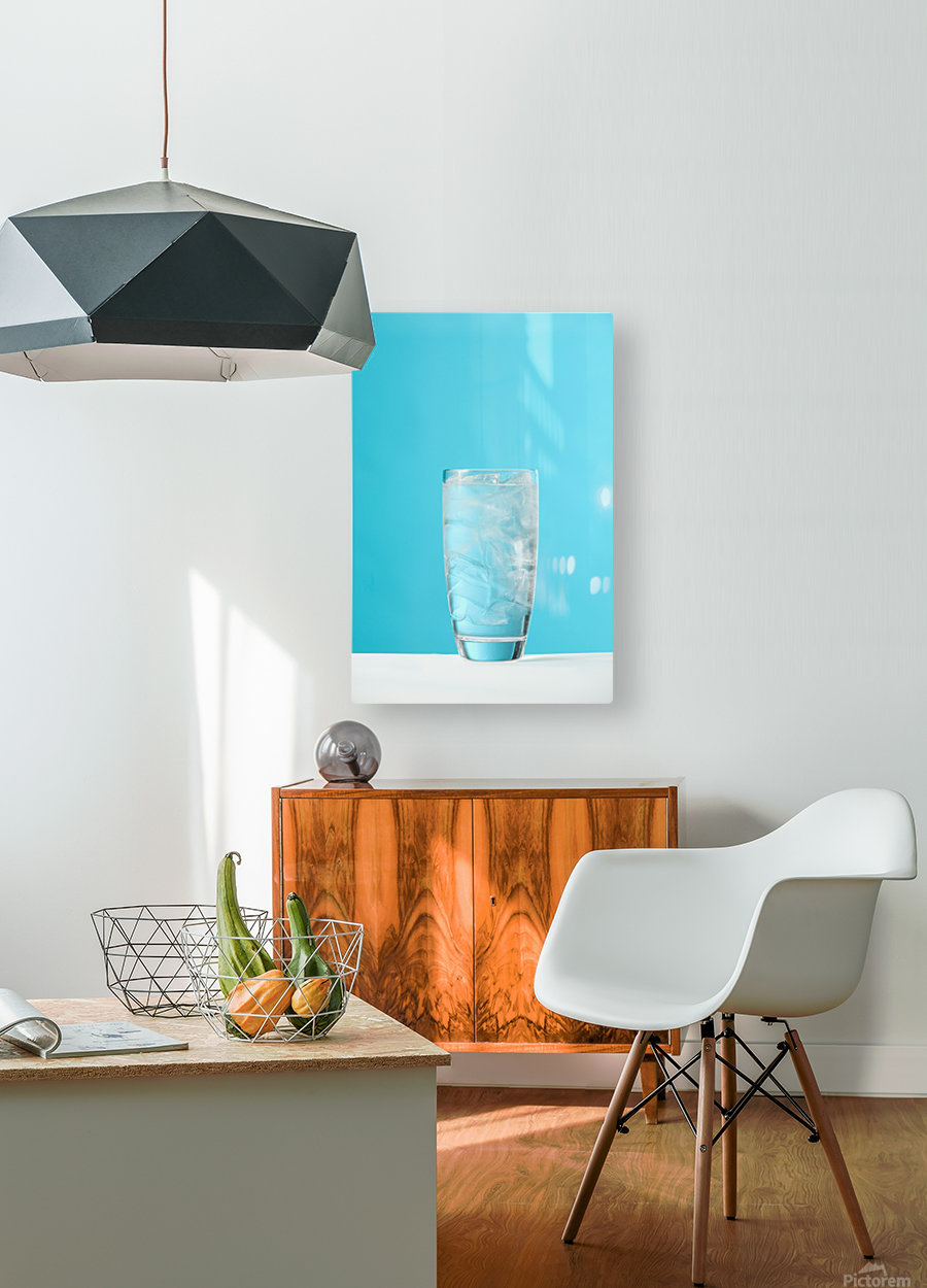 Very Full Glass Of Water With Ice  HD Metal print with Floating Frame on Back