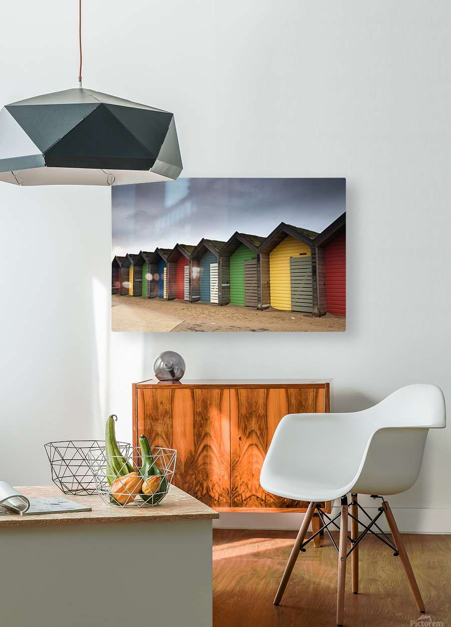 Colourful Beach Huts; Blythe, Northumberland, England  HD Metal print with Floating Frame on Back