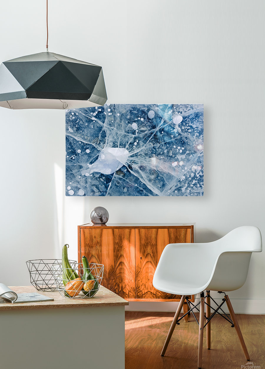 Close Up Of Cracks In The Ice Of Nenana River Near Denali National Park, Southcentral Alaska, Winter  HD Metal print with Floating Frame on Back