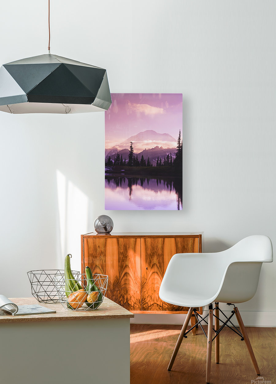 Sunset and a small reflecting pond near tipsoo lake mt. rainer national park near seattle;Washington united states of america  HD Metal print with Floating Frame on Back