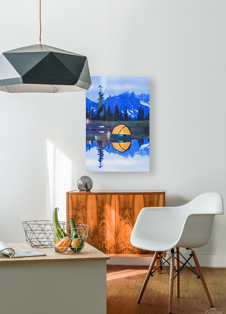Camping tent at sunset small reflecting pond near tipsoo lake mount rainer national park near seattle;Washington united states of america  HD Metal print with Floating Frame on Back
