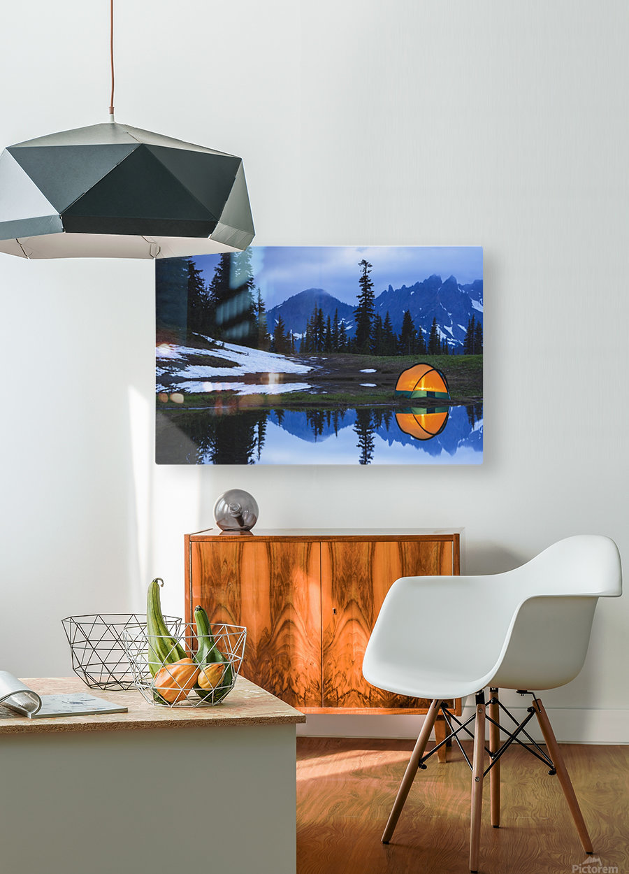 Camping tent at sunset by a small reflecting pond near tipsoo lake mount rainer national park near seattle;Washington united states of america  HD Metal print with Floating Frame on Back