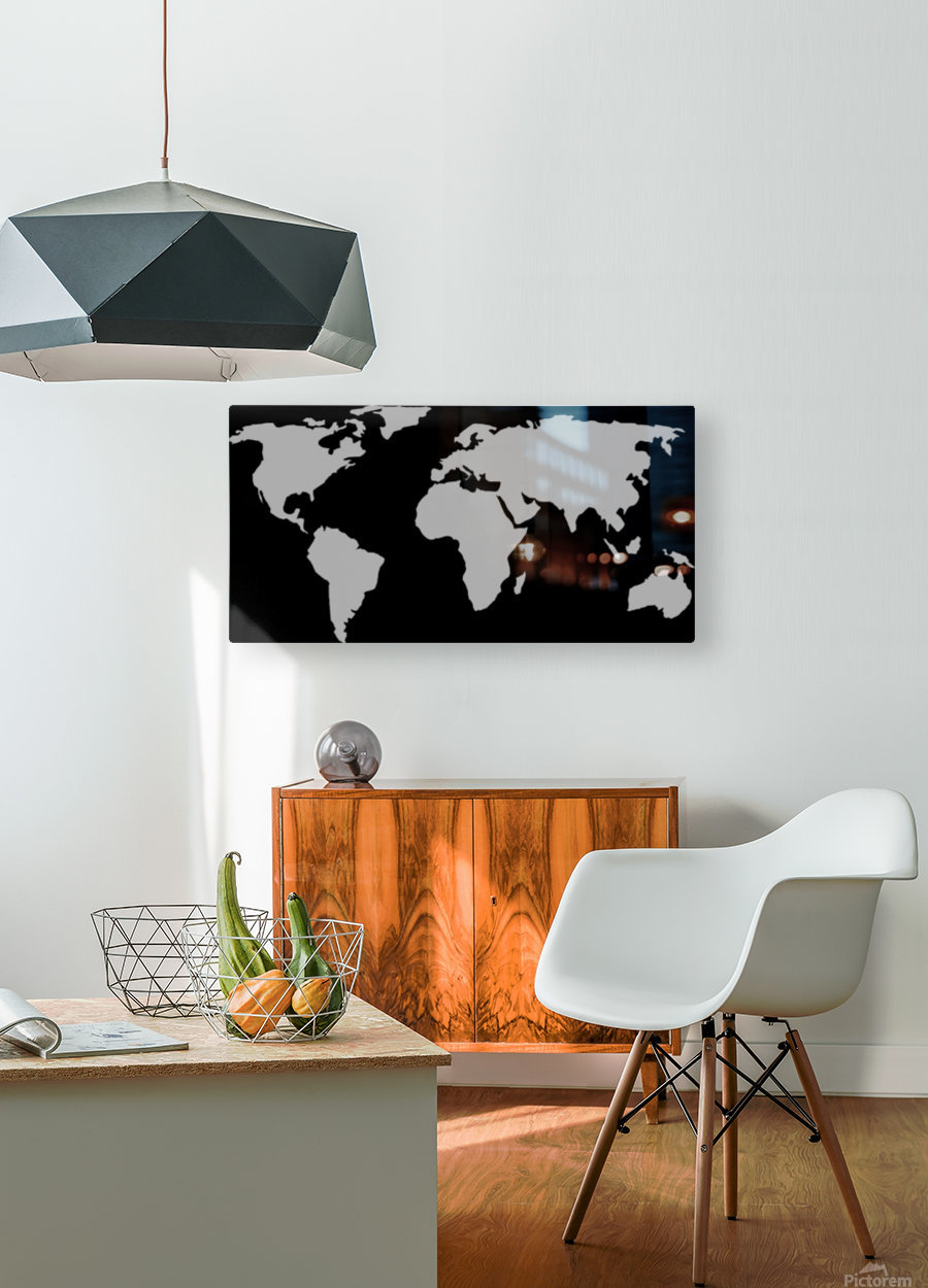 World Map Grey Style  HD Metal print with Floating Frame on Back