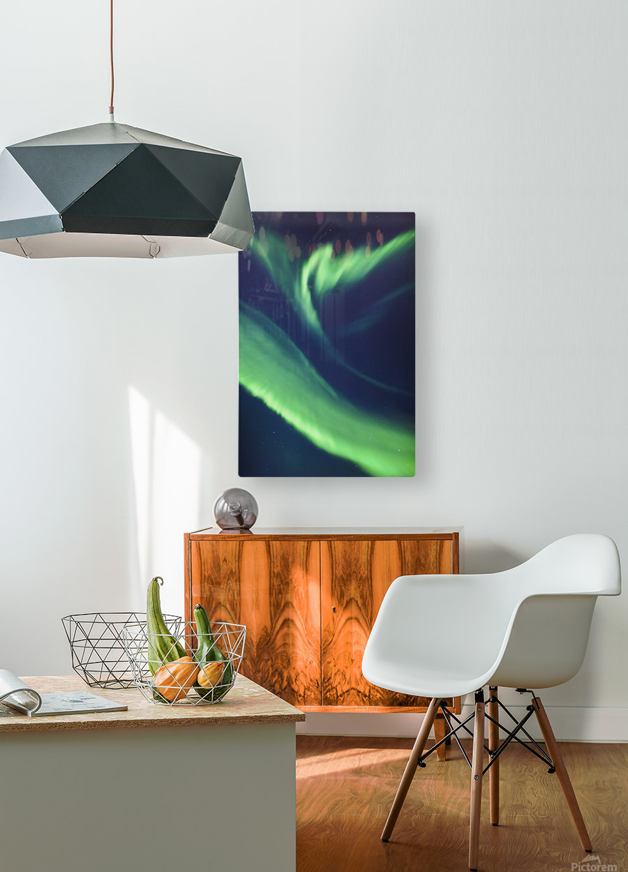 A green northern lights corona in the sky above the tony knowles coastal trail in winter;Anchorage alaska united states of america  HD Metal print with Floating Frame on Back