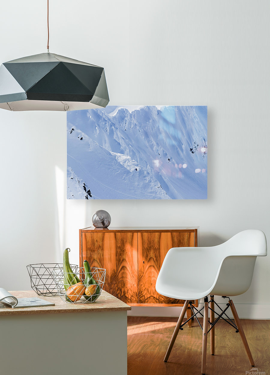 Backcountry Skiing In The Chugach Mountains In Late Winter; Southcentral Alaska, United States Of America  HD Metal print with Floating Frame on Back