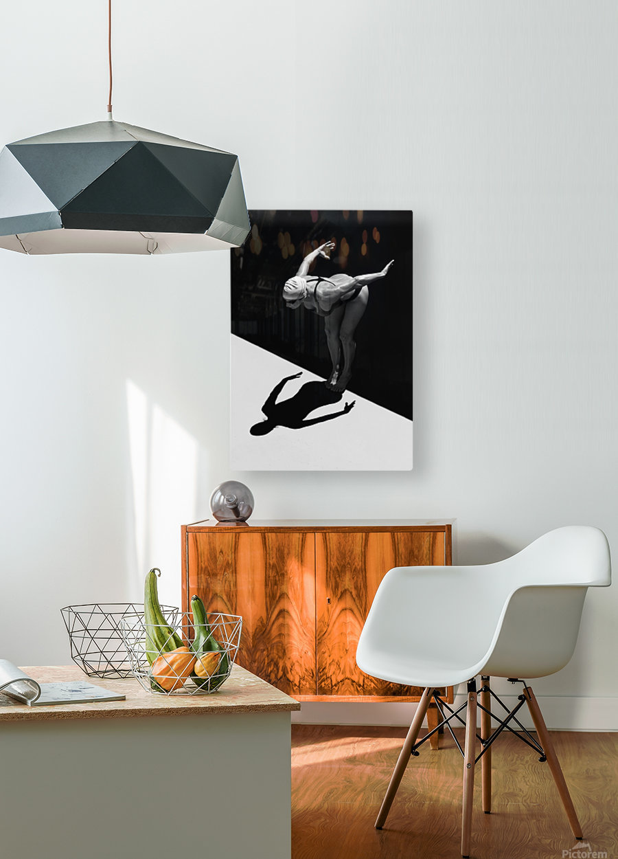 A Woman Prepares To Jump Backwards Off The Edge Of A Pool Into The Water; Tarifa, Cadiz, Andalusia, Spain  HD Metal print with Floating Frame on Back