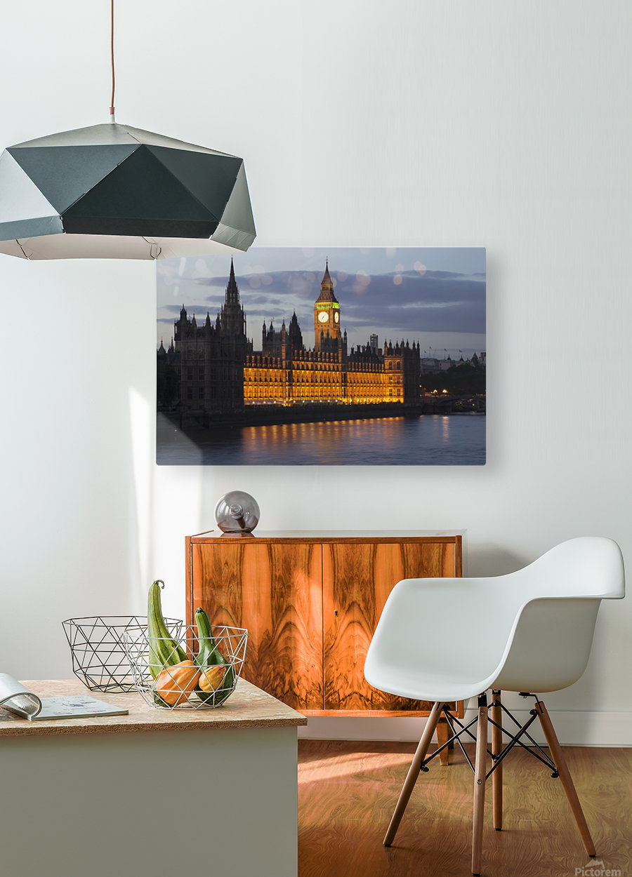 A Building And Clock Tower Along The Water's Edge Illuminated At Dusk; London, England  HD Metal print with Floating Frame on Back