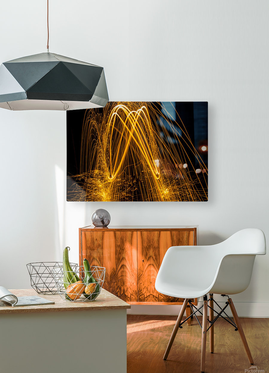 Spin 8  HD Metal print with Floating Frame on Back