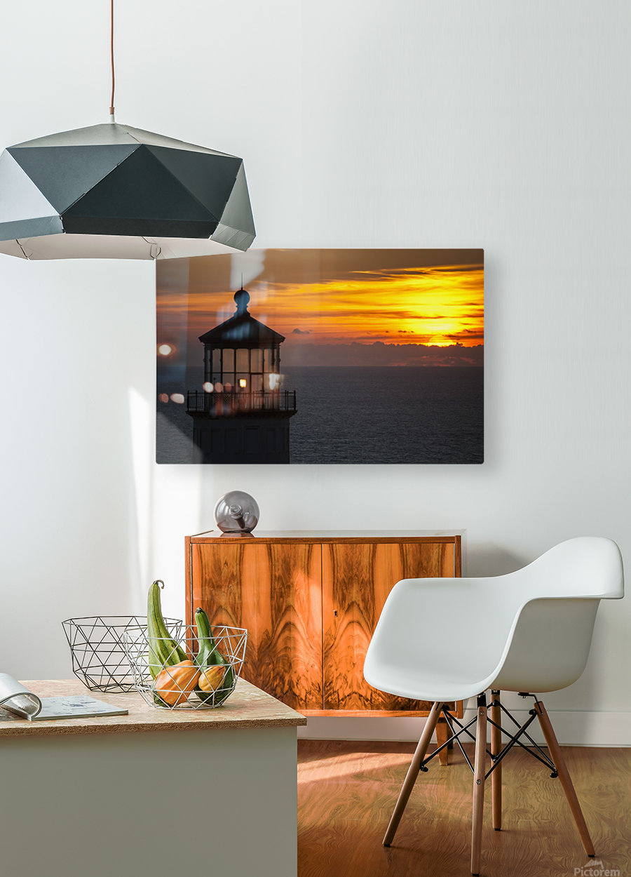 A sunset at North Head Lighthouse; Ilwaco, Washington, United States of America  HD Metal print with Floating Frame on Back