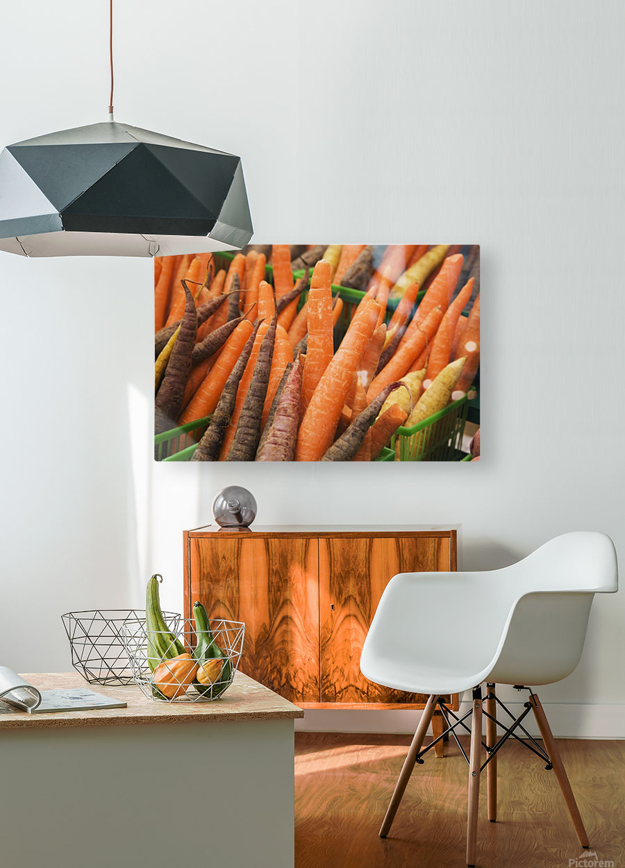 Green plastic baskets with freshly picked organic carrots (Daucus carota) for sale at an outdoor market, Byward Market; Ottawa, Ontario, Canada  HD Metal print with Floating Frame on Back